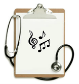 Amy Recchia Music Therapy Hudson Valley image of a clipboard with a paper that has music notes and symbols and a stethoscope
